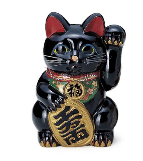 常滑焼 招き猫:貯金箱:黒小判付招猫(左手)10号 8425