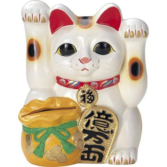 常滑焼 招き猫:貯金箱 両手上げ宝当猫  高さ25.5cm
