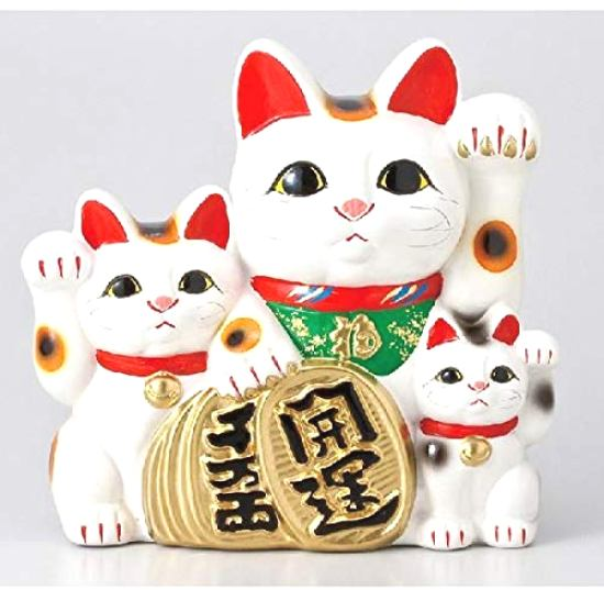招き猫:貯金箱 白三匹猫 7号