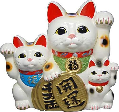 常滑焼 招き猫 貯金箱白三匹猫 (開運千万両) 8号 高さ26cm