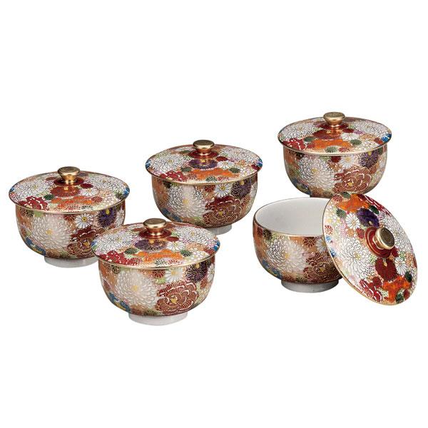 【九谷焼】蓋付汲出揃 花詰 5客組<九谷焼 和食器 鉢 小鉢 人気 ギフト セット 贈り物 結婚祝い/内祝い/お返し>