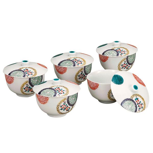 【九谷焼】蓋付汲出揃 色絵丸紋 5客組<九谷焼 和食器 鉢 小鉢 人気 ギフト セット 贈り物 結婚祝い/内祝い/お返し>