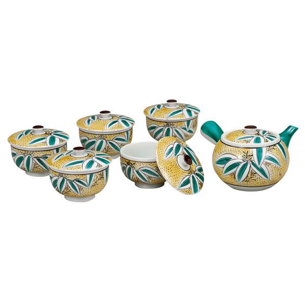 【ギフト包装賜ります】 九谷焼 蓋付茶器 吉田屋笹<九谷焼 和食器 鉢 小鉢 人気 ギフト セット 贈り物 結婚祝い/内祝い/お返し>