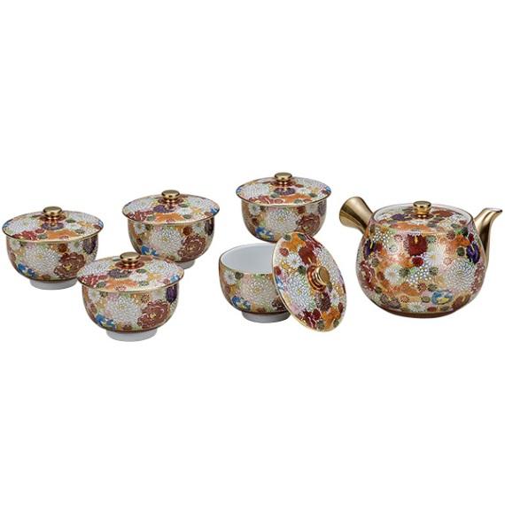 【ギフト包装賜ります】 九谷焼 蓋付茶器 花詰<九谷焼 和食器 鉢 小鉢 人気 ギフト セット 贈り物 結婚祝い/内祝い/お返し>