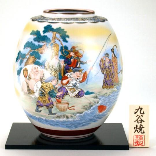 九谷焼 8号花瓶 七福神<ギフト プレゼント 新築祝い 退職祝い 父の日 母の日 誕生日 敬老の日 結婚式 海外土産>