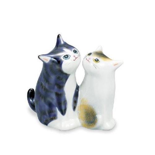 九谷焼 仲良し猫 3.8号 紫彩 平三 13×7.5×11.5cm 紙箱<九谷焼 和食器 鉢 小鉢 人気 ギフト セット 贈り物 結婚祝い/内祝い/お返し>