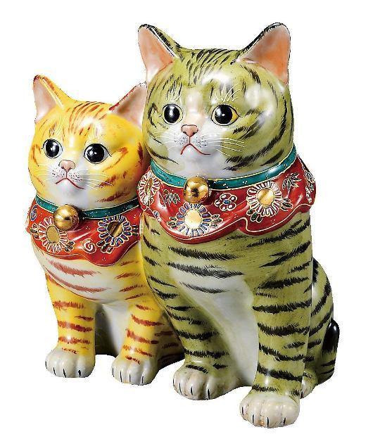 九谷焼 仲良し猫 8.5号 盛 20.5×14.5×25.5cm 紙箱<九谷焼 和食器 鉢 人気 ギフト セット 贈り物 結婚祝い 内祝い お返し>