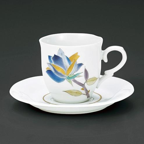 九谷焼 山岸大成作 コーヒー碗皿 色絵薔薇<九谷焼 洋食器 鉢 小鉢 人気 ギフト 贈り物 結婚祝い 内祝い お返し>