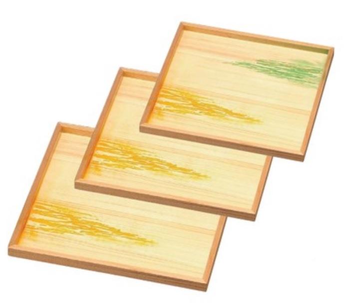 越前漆器 木製懐石盆 木製角御神前盆 雲海 尺3
