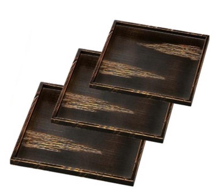 越前漆器 木製懐石盆 木製角御神前盆 べっ甲雲 尺1