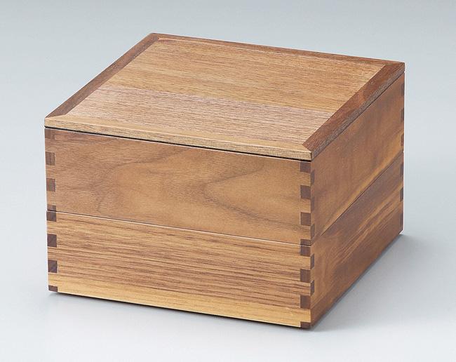木製越前塗 ウォールナット60二段重箱 内黒<行楽 運動会 お花見 ギフト プレゼント お祝い