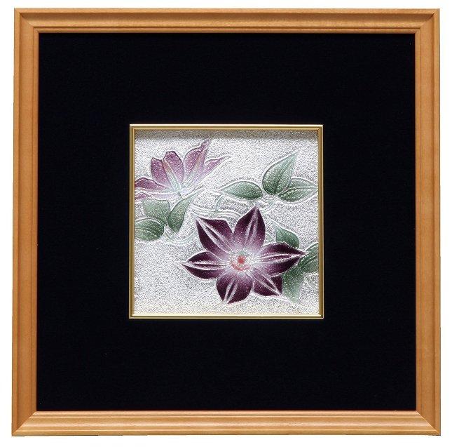 伝統工芸 七宝焼 額 鉄線  112-10