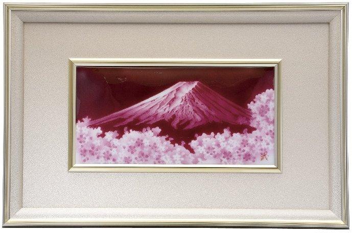 伝統工芸 七宝焼 額 赤富士桜 115-01