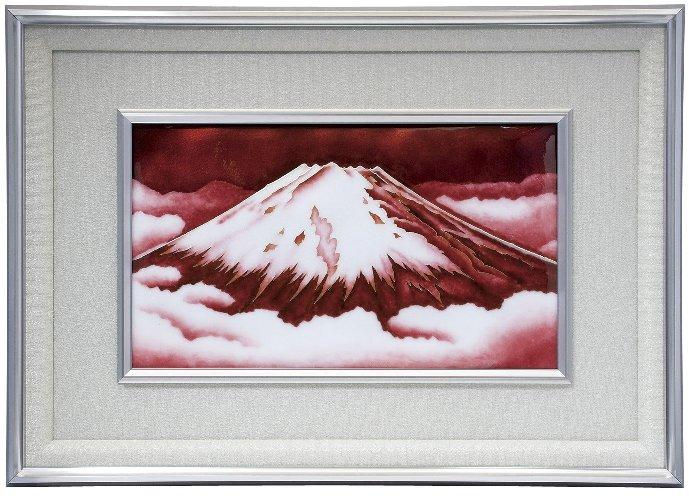 伝統工芸 七宝焼 額 Picture 有線赤富士 115-04