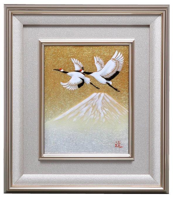 伝統工芸 七宝焼 額 Picture 富士に鶴2号  113-13