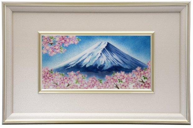 伝統工芸七宝焼 額 Picture 青富士桜 114-11