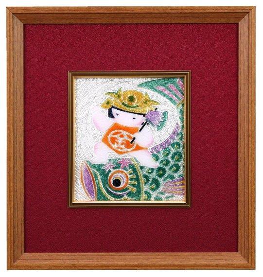伝統工芸 七宝焼 額  端午の節句 鯉と金太郎 108-17
