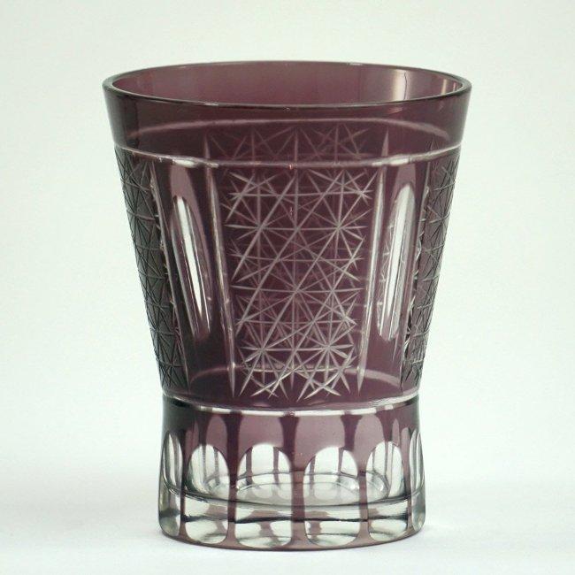 浪漫玻璃 切子グラス 誕生日 お祝い ロマノフカット 吟醸酒杯 パープル ギフト プレゼント 父の日 まとめ買い特価 母の日 普段使い