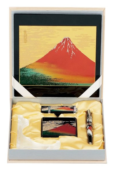 山中漆器 8V-500 ステーショナリー5点セット 赤富士(B)<ギフト プレゼント お祝い お返し 昇進 入学 海外への土産>