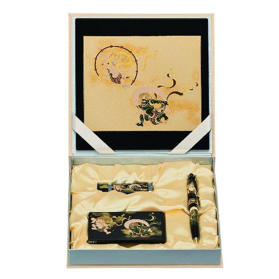 山中漆器 9V-607 ステーショナリーセットR 風神雷神(B)<ギフト プレゼント お祝い お返し 昇進 入学 海外への土産>