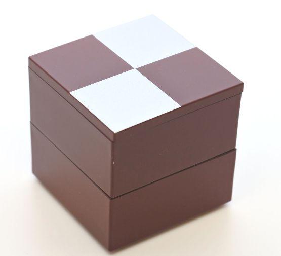 山中漆器 ミニミニ二段重 市松2段中子重 銀朱 一段にすると 単独で小重として 6.5寸のお重箱に蓋付ですっぽり収まります 超安い 大好評です