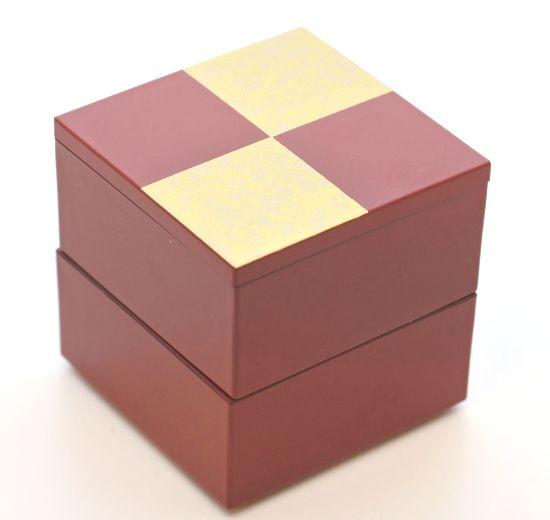 売店 山中漆器 ミニミニ二段重 市松ゴールド2段中子重 『1年保証』 朱 6.5寸のお重箱に蓋付ですっぽり収まります 一段にすると 単独で小重として