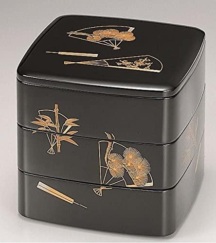 越前漆器 漆遊館 歳時記 価格交渉OK送料無料 G4343-03 65胴張三段重 19.7×19.7×18.7cm 扇子 化粧箱 ストア