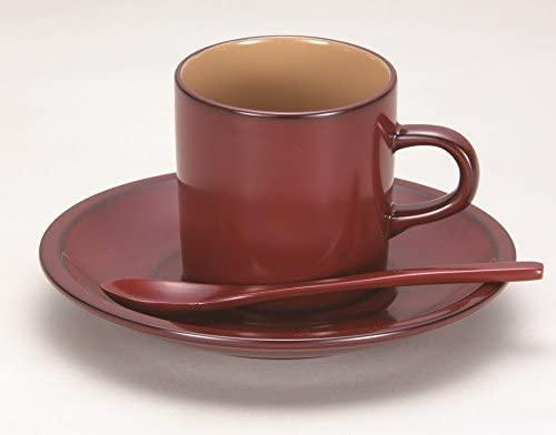 越前漆器 漆遊館 歳時記 【G4129-02】 茜朱 木製コーヒーカップ ソーサー・スプーン付 化粧箱 9.8×7×6.6cm