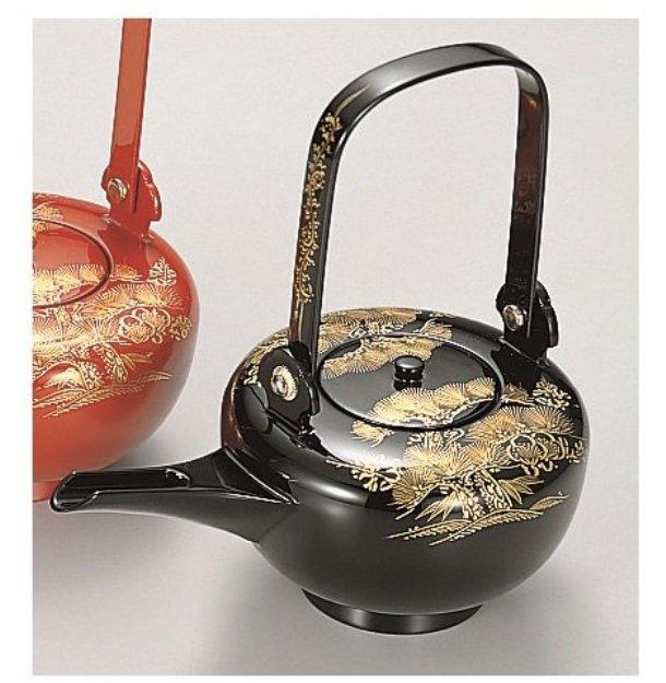 漆遊館 歳時記 【G4330-05】 黒 松竹梅沈金 銚子 化粧箱 21×12.6×21cm