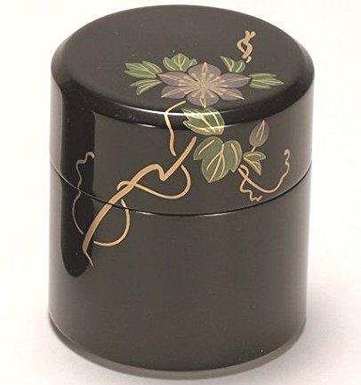 越前漆器 漆遊館 歳時記 【G4133-04】 黒 鉄線 茶筒 中蓋付 化粧箱 φ8.2×9cm
