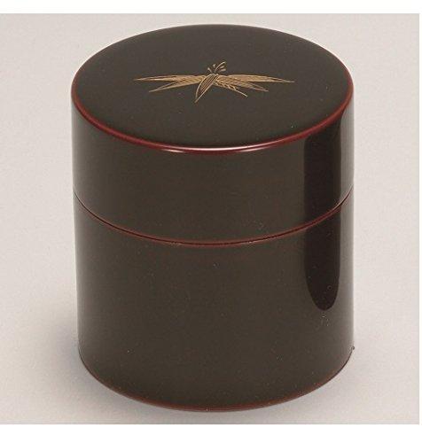 越前漆器 漆遊館 送料込 歳時記 G4133-05 溜 笹絵 タイムセール 中蓋付 φ8.9×9.2cm 茶筒 化粧箱