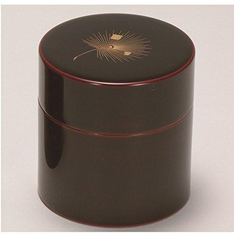越前漆器 完全送料無料 漆遊館 歳時記 G4133-06 溜 φ8.9×9.2cm 化粧箱 送料無料/新品 茶筒 中蓋付 飛花