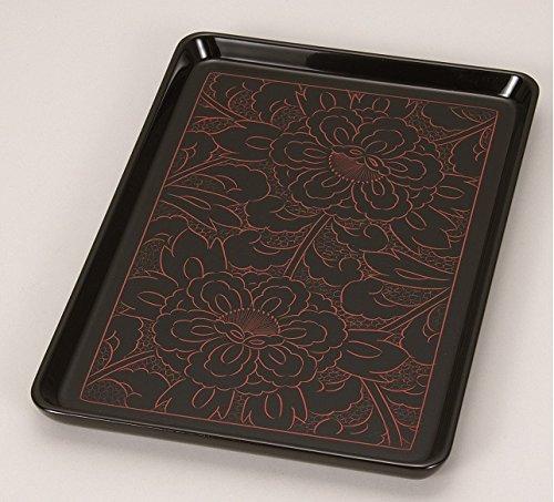 漆遊館 歳時記 【G4333-26】 牡丹彫 長手盆 8寸 化粧箱 24.3×16.9×1.7cm