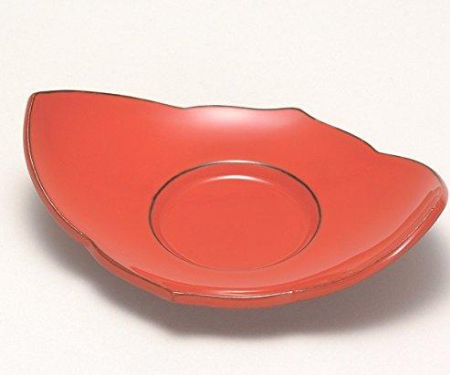 漆遊館 歳時記 【G4121-01】 呂色根来 桔梗茶托 5個セット 化粧箱 14.3×10.2×4.2cm