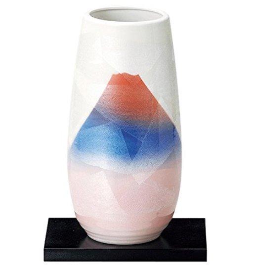 九谷焼  銀彩赤富士 Mt.FUJI 花瓶(台付) サイズ 12x 高さ25cm<九谷焼 和食器 鉢 小鉢 人気 ギフト セット 贈り物 結婚祝い/内祝い/お返し>