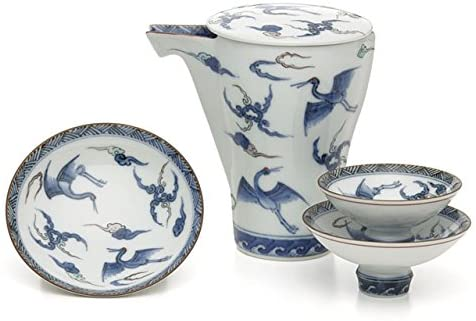 【有田焼】日本酒を美味しく飲む器!匠の蔵 至福の徳利&盃セット 鶴の舞