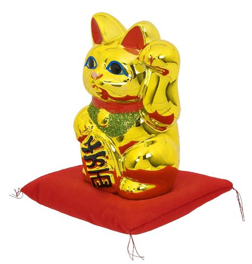 常滑焼 招き猫:貯金箱:金小判付招猫(左手・座布団付)6号 8482