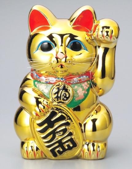常滑焼 招き猫 梅月 黄金小判猫8号 高さ:24cm