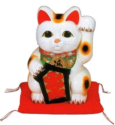 常滑焼 招き猫 梅月 大入白猫(左手)座ぶとん付 10号 高さ:33cm