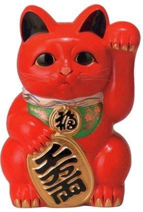 常滑焼 招き猫 貯金箱 梅月 赤小判猫(左手)10号高さ:33cm