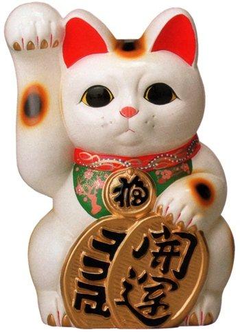 常滑焼 招き猫 梅月 開運白手長小判猫(右手)13号 高さ:43cm