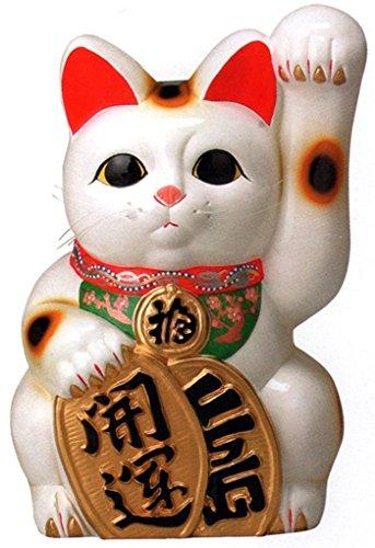 常滑焼 招き猫 梅月 開運白手長小判猫(左手)10号 高さ:35cm<左手を上げる猫はお客を招く!千客万来>