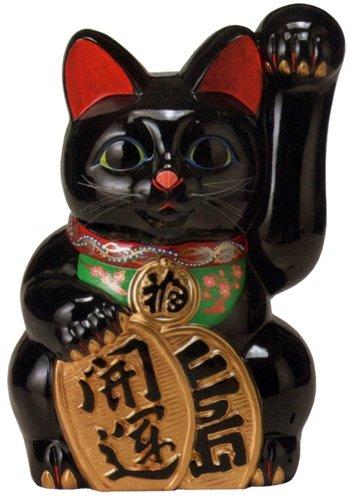 常滑焼 招き猫 梅月 開運黒手長小判猫(左手)13号 高さ:43cm<左手を上げる猫はお客を招く!千客万来>