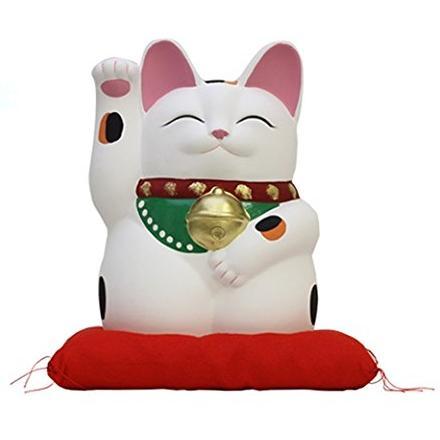 常滑焼 招き猫 萬助 手描き 金運来福萬助猫(右手) 白 座ぶとん付 7号 横幅:15cm 奥行:14cm 高さ:21cm