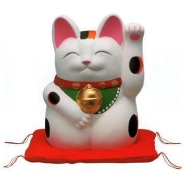 常滑焼 招き猫 萬助 手描き 金運来福萬助猫(左手) 白 座ぶとん付 7号 横幅:15cm 奥行:14cm 高さ:21cm