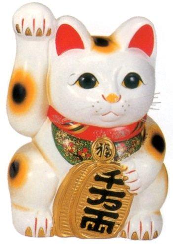 常滑焼 招き猫 美園 白手長小判猫(右手) 10号 高さ:34cm