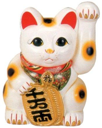 常滑焼 招き猫 美園 白手長小判猫(左手) 10号 高さ:34cm<左手を上げる猫はお客を招く! 千客万来>