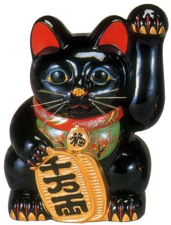 常滑焼 招き猫 美園 黒手長小判猫(左手) 13号 高さ:40.5cm<左手を上げる猫はお客を招く!千客万来>