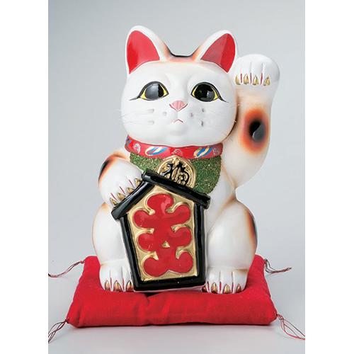 常滑焼 G2331 招き猫 貯金箱大入白猫 座布団付 10号 高さ33cm