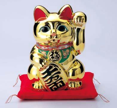 常滑焼 招き猫 貯金箱黄金小判猫 左手(千万両) 8号 高さ24cm<左手を上げる猫はお客を招く!>